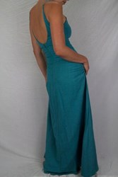 Dress - Low-Back - Linen - Turquoise
