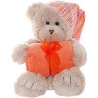 **SPECIAL** Bedtime Frankie Bear - 40cm with Orange Blanket & Hat
