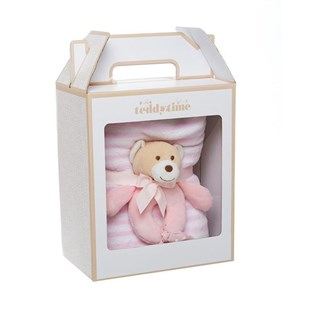 Girl Teddy Rattle and Blanket Baby Gift Pack