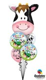 Farmyard Cow Birthday Balloon Bouquet