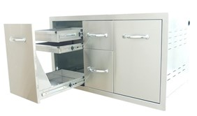 """SUNSTONE 42"""" Multi-Storage Cabinet with  Warming & Cooling Drawer,Tank Tray Slide A-LPCDD42"""