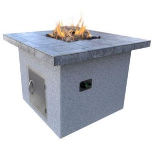 Cal Flame Stucco and Tile Dining Height Square Gas Fire Pit