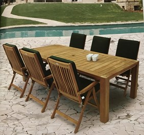 """ROYAL TEAK COLLECTION 96"""" Comfort Teak Table with 6 Estate Chairs with Cushions (COMF96 + ESFC + CUFB)"""