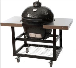 Primo LG300 Ceramic Charcoal Smoker Grill On Cart and Stainless Steel Side Shelves #370 (PRM775 + PRM368)