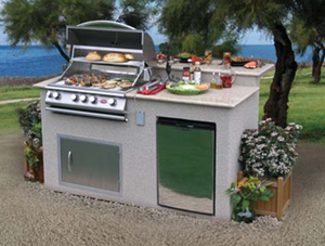 Cal Flame 6 ft. Pavilion 5 Burner Gas Grill Island and Refrigerator PV6016