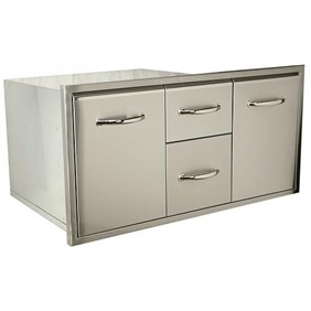"""Luxor Medallion 42"""" Party Storage Combo W/ Double Drawers Storage And Trash Pull Out -AHT-M-COMBO42"""