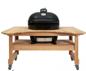 Primo Xl 400 Ceramic Charcoal Smoker Grill On Cypress Table #600 (PRM778 + PRM600)