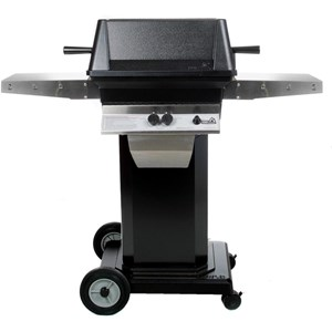 PGS A40 Cast Aluminum Propane Gas Grill on Black Portable Pedestal Base A40+ABPED+ALC