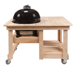 Primo Oval JR 200 Ceramic Smoker Grill With Countertop Cypress Table Table #614 (PRM774 + PRM614)