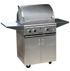 ProFire Professional Deluxe Series Freestanding 27-Inch Built-In  Gas Grill With Rotisserie & SearMagic Grids - PFDLXSM27R + PF27SSCBP