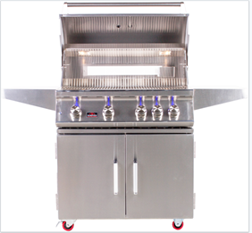 "BONFIRE 4 BURNER 34"" GRILL WITH ROTISSERIE AND LIGHTS ON DOUBLE DOOR CART BASE"