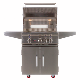"BONFIRE 3 BURNER 28"" GRILL WITH ROTISSERIE AND LIGHTS ON DOUBLE DOOR CART BASE"