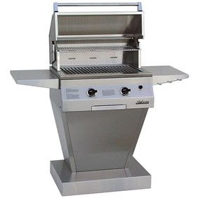 "Solaire Gas Grill 27"" Deluxe Infravection Gas Grill w/ One Infrared Burner On Angular Pedestal Base SOL-IRBQ-27GVIXL+SOL-AG-27CXL"