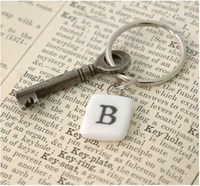 Porcelain Letter Key Ring