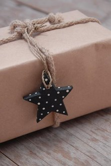 Wooden black dotty decorations
