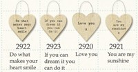 Plywood hearts with words