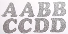 Silver Glitter 40 Iron On Washable Alphabet Letters