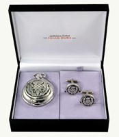 Mechanical thistle pocket watch and cufflinks set