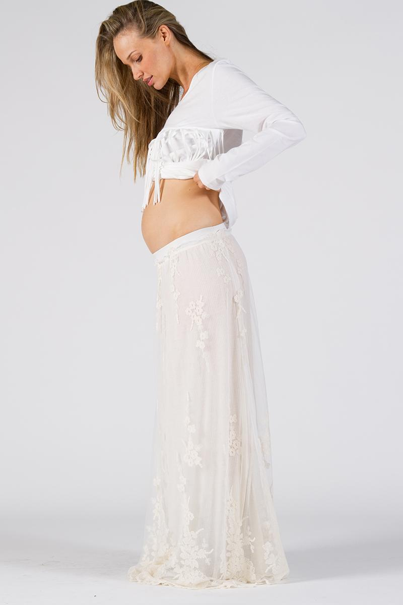 """Brocade"" Maternity maxi skirt - cream Fillyboo - Boho ..."