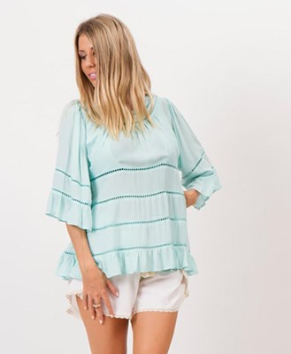 """Wednesday"" Lace trimmed nursing top - Ice mint"