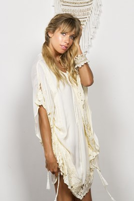 """Repeat After Me"" embroidered maternity and nursing kaftan - Lemon cream voile"