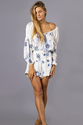 """""""Patchwork People Playsuit"""" Women's patchwork embroidery playsuit - white"""