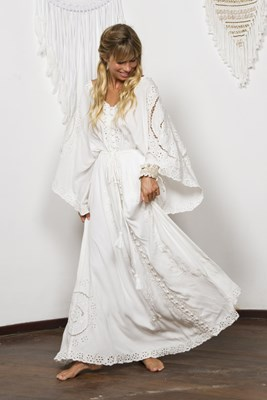 """CLEO"" Women's embroidered duster - Ivory with Ivory"