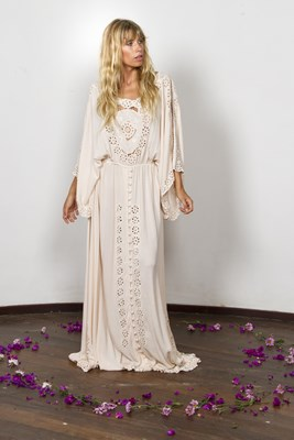 """I Believe In Unicorns - Maxi Dress"" Women's embroidered maxi dress - blush"