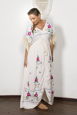 """Bojangles"" Button-through maternity duster/maxi dress/kaftan - Cross Stitch Story"