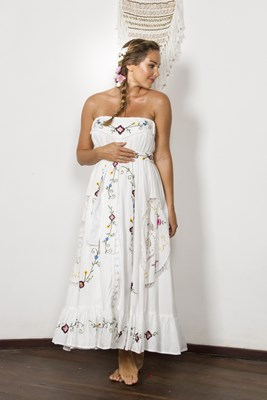 """""""Love Note"""" maxi skirt / strapless dress - Ivory with delicate cut-work embroidery"""