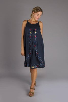 """Loved Locked"" Nursing Dress  - Navy Blue"