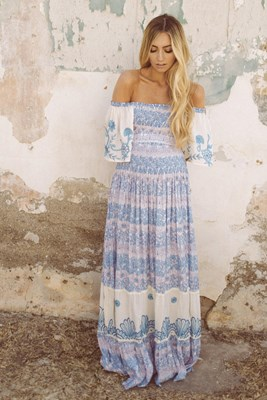 """Hummingbird"" Women's printed and embroidered maxi dress with shirred bodice - Sky Blue"