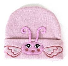 Girls Pink Butterfly Warm Winter Beanie (2-6yrs)