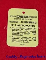 1936 - 1957 Cadillac Cig. Lighter Instruction Tag