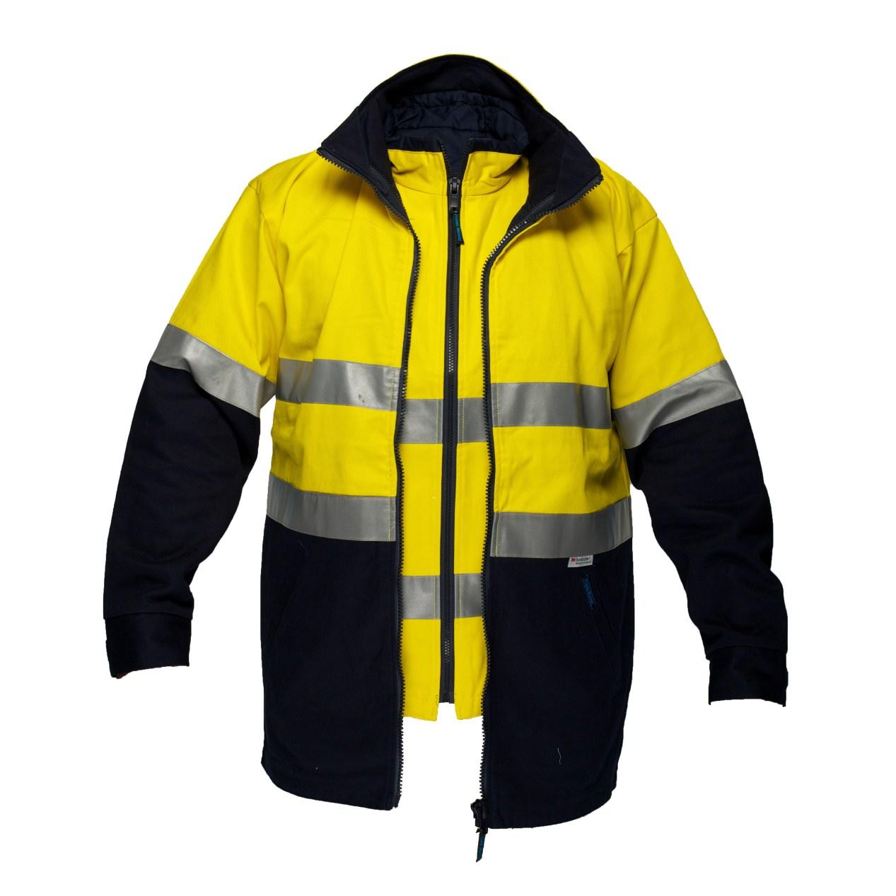 Safety Yellow Shirts >> 100% Cotton 4 -in-1 Safety Jacket Hi Vis Workwear- Safety Gear Express