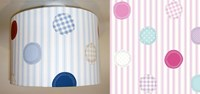 Spotty & stripe fabric lampshade for ceiling or bedside lights