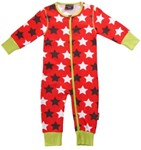 ON SALE Maxomorra Organic Zip suit - Red with stars