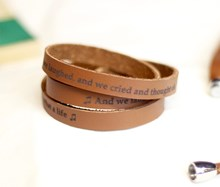 Personalised Leather Lyrics/message bracelet