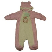 Annabelle Bear Pink Fleece Romper (Baby Body Suit) - Baby Girl Clothes
