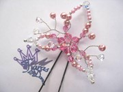 Hair Pin - Lily - Rose/Clear Crystal