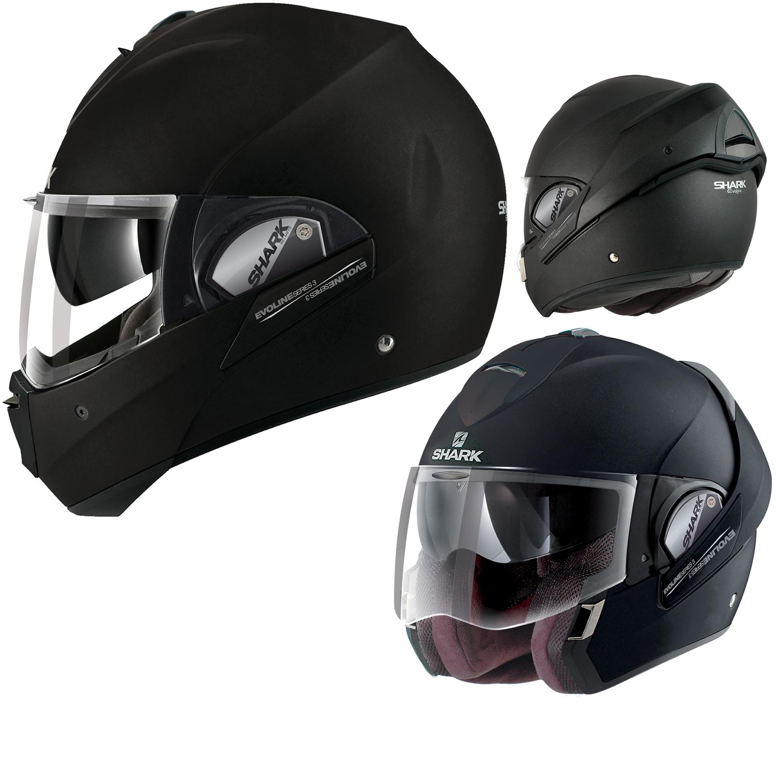 shark evoline 3 fusion ece helmet blank matt black online motorcycle accessories australia scm. Black Bedroom Furniture Sets. Home Design Ideas