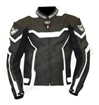 (CLEARANCE SALE) - Berik Tech CE Mens Leather Jacket - Black/White