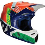 (CLEARANCE SALE) - FOX 2016 V3 DIVIZION HELMET 2016 - ORANGE/BLUE