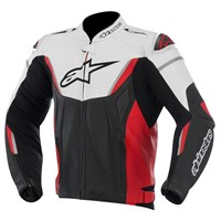 (CLEARANCE) - Alpinestars GP R Non-Perforated Leather Jacket - Black/White/Red