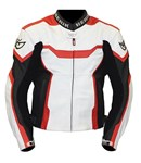 (CLEARANCE SALE) - Berik Tech CE Leather Jacket - White/Red