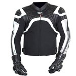 BERIK PROTECT MENS LEATHER JACKET - Black/White