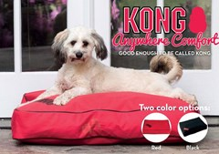 Rectangular KONG Dog Bed, Red or Black, available in 3 sizes.