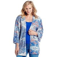 Oriental Inspired Blues Plus Size Kimono Jacket Cover Up