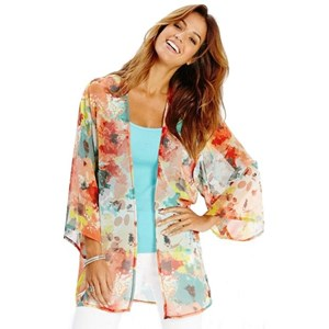 Abstract Floral Plus Size Cover Up Kimono Open Jacket