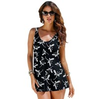 Black White Butterfly A-Line Plus Size Swimdress Bathers